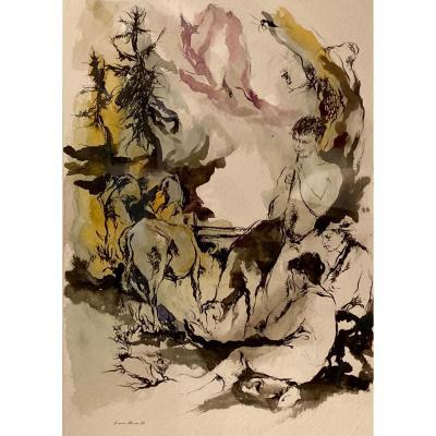 """Franco MURER, aquarelle """" scène pastorale """", XXème"""