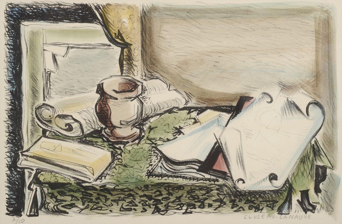 Jean Cluseau-lanauve (1914-1997) Still Life With Parchments Lithograph Périgord