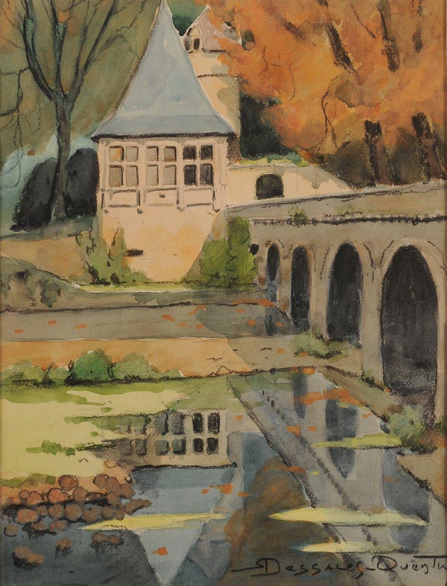 Robert Dessales-quentin (1885-1958) Renaissance Pavilion And Elbow Bridge In Brantôme Dordogne