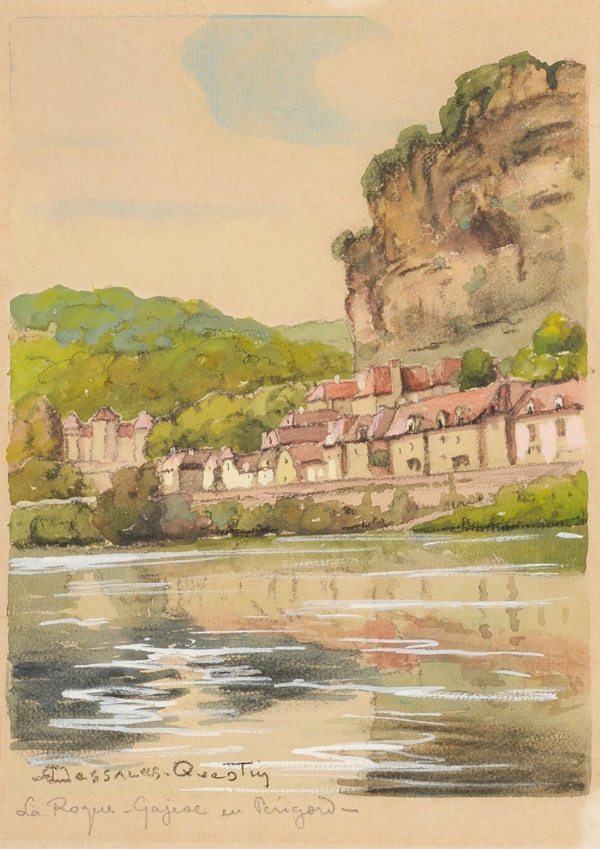 Robert Dessales-Quentin (1885-1958) La Roque Gageac et la Dordogne Périgord
