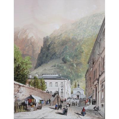 Jean-Jacques Alban de Lesgallery (1807-1871) Les Eaux-Bonnes Pyrénées