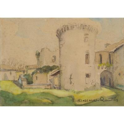 Robert Dessales-quentin (1885-1958) Le Château Des Bernardières, In Champeaux Périgord Dordogne Mareuil