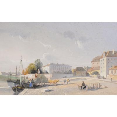 Alban de Lesgallery (1807 - 1871) Les quais de Bergerac Dordogne