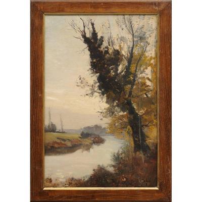 Louis Cabié (1853-1939) Brumes sur la Vézère aux Eyzies Sarlat Périgord Dordogne