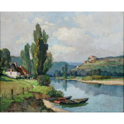 Georges Charles Robin (1903-2003) Castelnaud Seen From La Roque-gageac Dordogne
