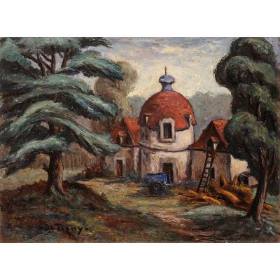 André Balouzet De Tigny (1896-1968) The Dovecote Of The Château De Marzac In Tursac Dordogne