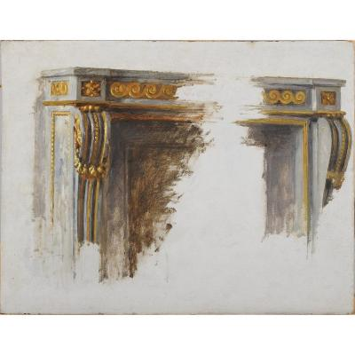 Louis XVI Fireplace Sketch - French School Circa 1900