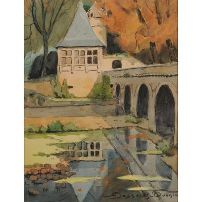 Robert Dessales-quentin (1885-1958) Renaissance Pavilion And Elbow Bridge In Brantôme Dordogne