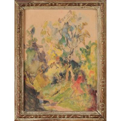 André Prugent (1882-1965) Chemin en automne Périgueux Dordogne Périgord