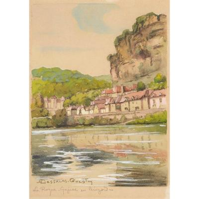 Robert Dessales-quentin (1885-1958) La Roque Gageac And The Dordogne Périgord