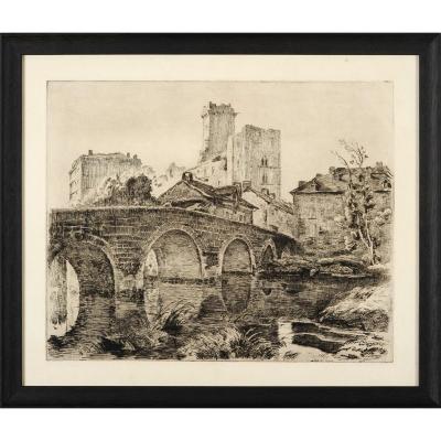 Henri Pailler (1876-1954) Bourdeilles gravure Dordogne Périgord