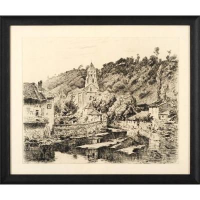 Henri Pailler (1876-1954) Brantôme gravure Dordogne Périgord
