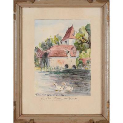 Robert Dessales-Quentin (1885-1958) Moulin et château de Rognac à Bassillac Dordogne