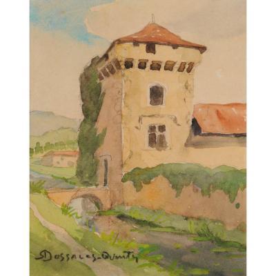 Robert Dessales-Quentin (1885-1958) Condat, donjon de la Commanderie Dordogne Périgord