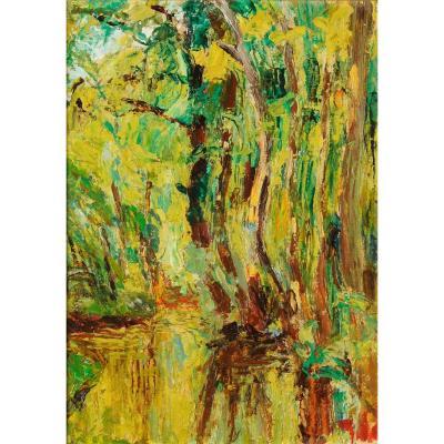 André Prugent (1882-1965) Reflets d'arbres Périgueux Dordogne Périgord