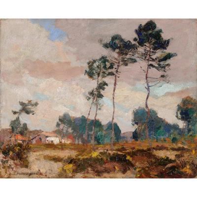 Emile Chaumont (1877-1927) Landscape Of The Landes Gironde