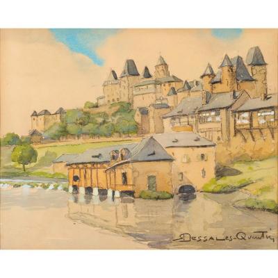 Robert Dessales-Quentin (1885-1958) La Vézère aux pieds d'Uzerche Corrèze