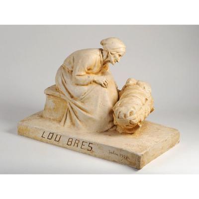 Marguerite Mazet (1881-1947) Lou Bres - Le Berceau sculpture Dordogne Lot Périgord