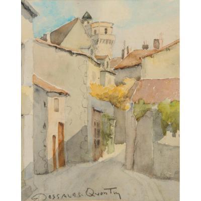 Robert Dessales-quentin (1885-1958) Tour Saltgourde Seen From Rue Séguier Périgueux Dordogne