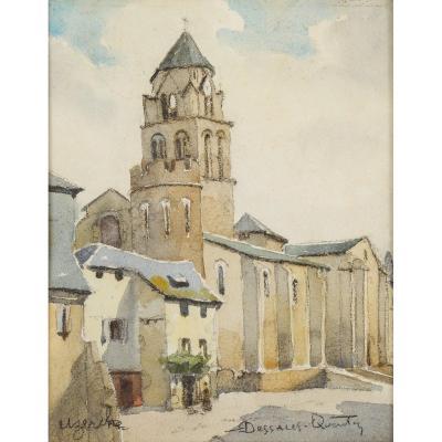 Robert Dessales-Quentin (1885-1958) Abbatiale Saint Pierre d'Uzerche Corrèze