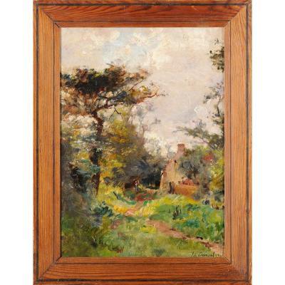 Jean-louis Daniel (1861-1929) Path And Hut In Périgord Dordogne