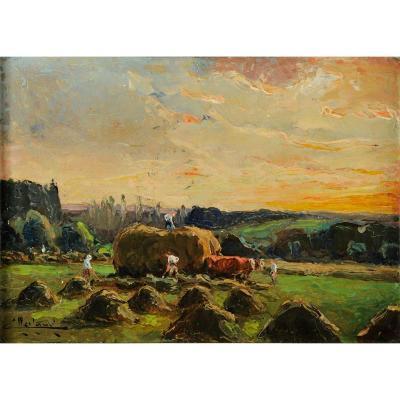 Camille Merlaud (1877-1957) Ramassages des foins Dordogne Périgord