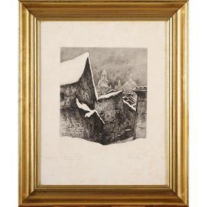Julien Saraben (1892-1979) Saint Front sous la neige Périgueux Dordogne gravure