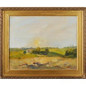 Georges Darnet (1859-1936) Coucher de soleil Dordogne Périgord