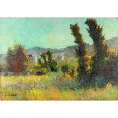 """Narcisse Guilbert """" Paysage, Prairie à Saint Gervais """""""