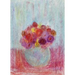 Lyne Seybel : Bouquet Au Vase Bleu