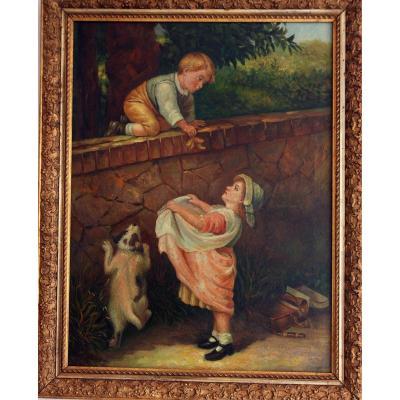 Les voleurs de cerises Scene Enfantine enfants 19 Eme Siecle
