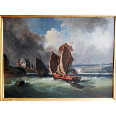 Grande Marine Par C.dickens Ecole Normande Fin Du 19 Eme Siecle