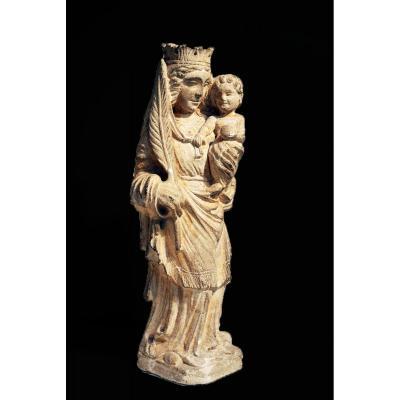 Vierge à l'Enfant Pierre Calcaire Sculptée 19 Eme