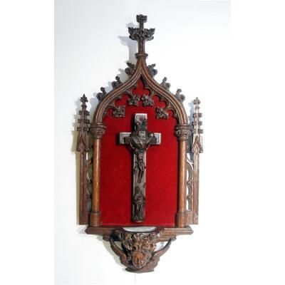 Crucifix Croix Bénitier Reliquaire Franc-maçon XVIII Bois Sculpté