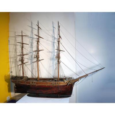 Large Model Of 3 Mats In Mahogany 19 Eme Boat Sailboat