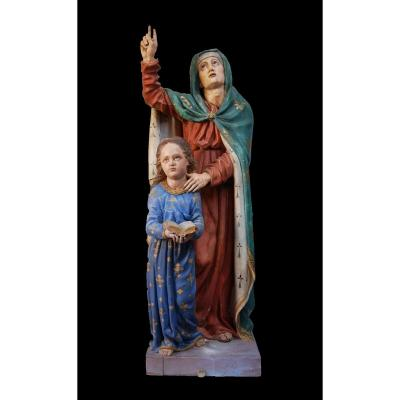 Ste Anne Apprend A Lire à La Vierge Marie Grande Statue Bois 19 Eme Bretagne