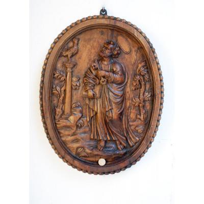 St-pierre-et-le-coq-panneau-bois-sculpte-fin-18-eme-siecle
