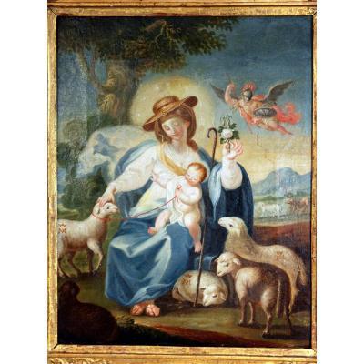 Huile Sur Toile Vierge l'Enfant Jésus Royal ésotérique 18 Eme Siecle Maternité