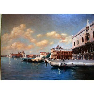 Grande Vue De Venise, Huile Sur Toile Par Hussent Debut 20 Eme