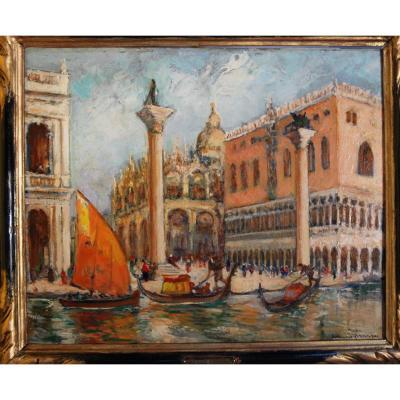 Venise Le palais Ducal Par Edouard Richard Peintre Impressionniste