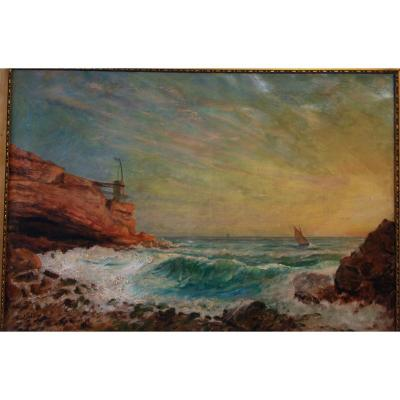 Ernest Sebille Marseille 1838-1913 Les Calanques Provence, Peintre Provençal