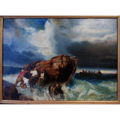 Départ Pour La Pèche Marine 1830 Pécheur Tempête Tableau Huile Toile Naufrage