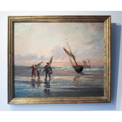 Marine Impressionist, The Return From Fishing Family Around 1920