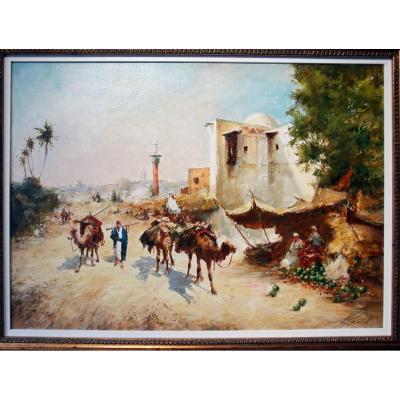 Mikhaïl Kraiev Grand Tableau Orientaliste école Russe Impressionniste