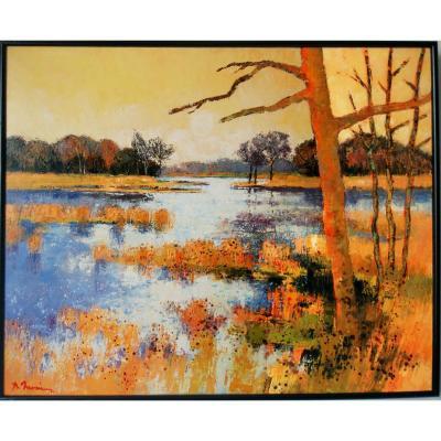 Paysage étang De La Dombe Lyon Bernard Neveu Huile Sur Toile Peintre Provençal