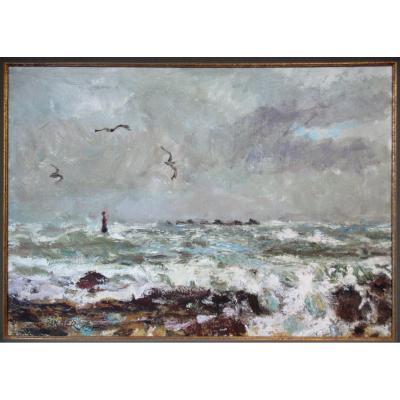 Georges Rocher 1927 1984 Marine Bretagne Impressionniste Bretonne Mer Océan