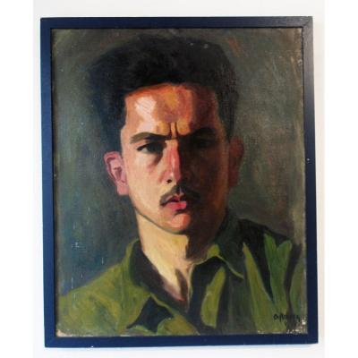 Georges Rocher Auto-portrait Huile Sur Toile 1927 1984 Impressionniste
