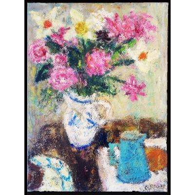Georges Rocher Bouquet Fleurs Nature Morte Grande Huile Sur Toile
