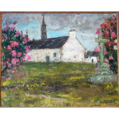 Georges Rocher Calvaire Bretagne Chapelle église Bretonne Impressionniste