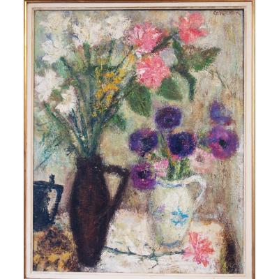 Georges Rocher Bouquet Fleurs Cubiste Moderniste Bernard Buffet Misérabiliste